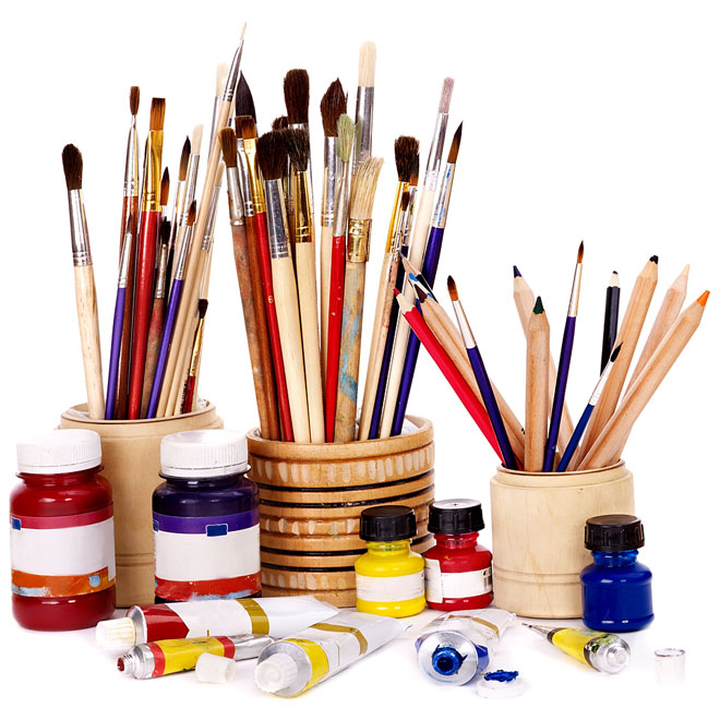 art brushes, paints, and colored pencils