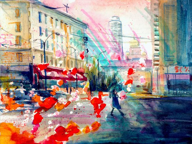 city street scene using liquid watercolor paints