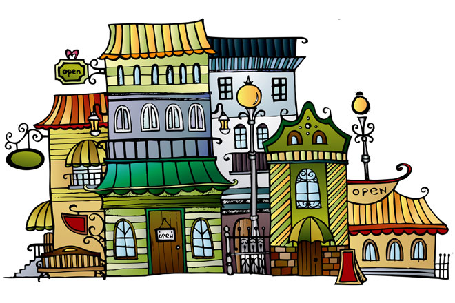 watercolor painting of local art boutiques