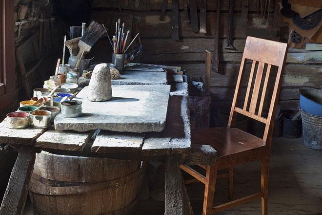 vintage studio painting table