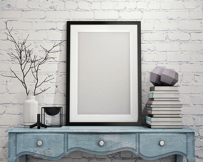 picture frame with mat, on entry hall table