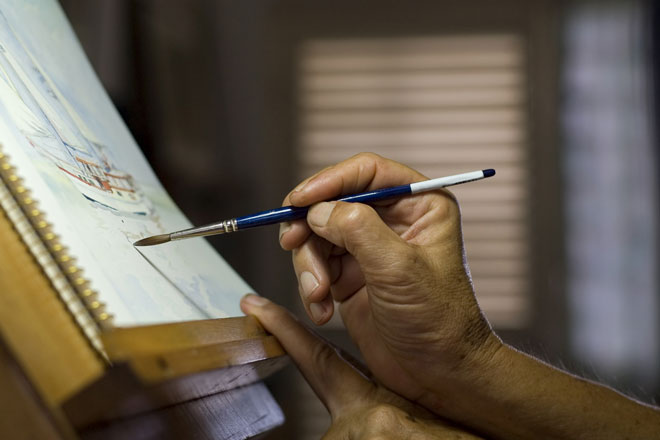 using a watercolor easel