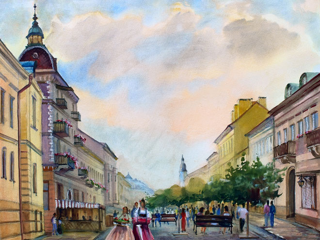 watercolor painting of a historic European city