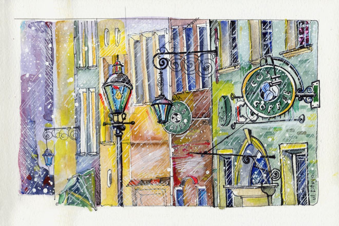 watercolor painting using masking and texturing mediums